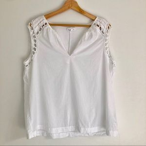 Gap sleeveless laser cut blouse